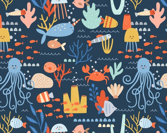 Ocean Animals Wallpaper - Peel and Stick Removable Wallpaper, Kids Room Wall Decor, Nursery Wallpaper, Ocean Wall Art, Nautical Wall Decor