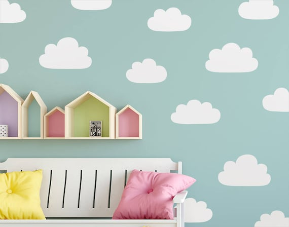 Cloud Wall Decals - Hand Drawn Cloud Decals, Nursery Wall Decals, Vinyl Wall Decals, Kids Bedroom Decals, Cute Cloud Wall Stickers