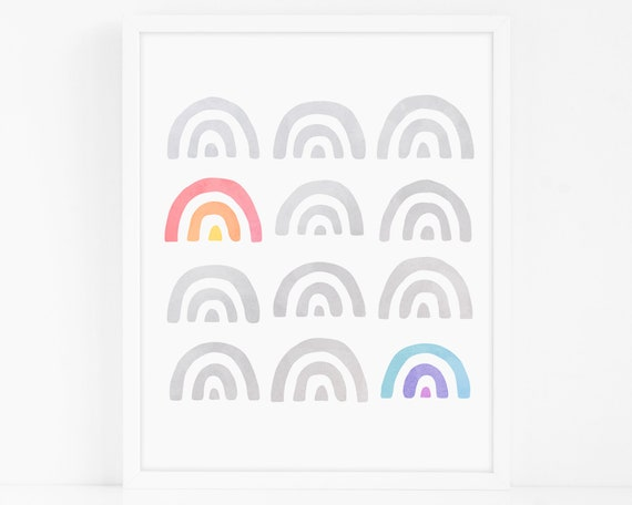 Rainbow Art Print - Nursery Art, Watercolor Wall Art, Wall Decor, Kids Art Print, Kids Bedroom Decor