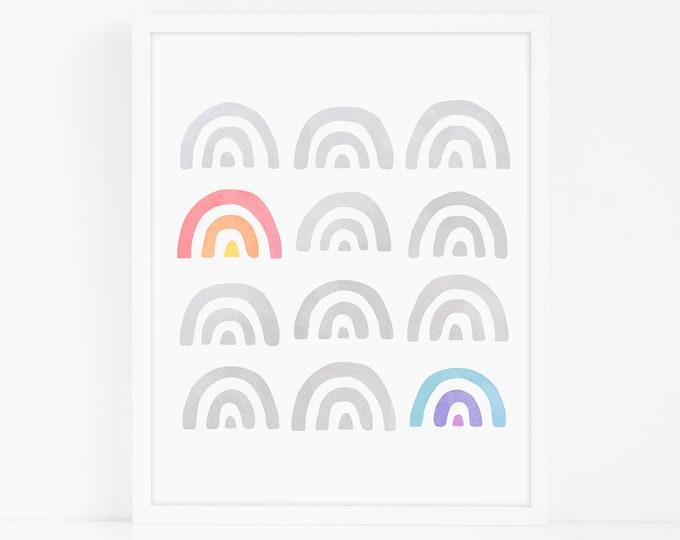Rainbow Art Print - Nursery Art, Watercolor Wall Art, Wall Decor, Kids Art Print, Kids Bedroom Decor