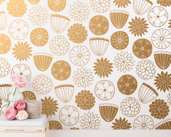 Flower Wall Decals - Modern Vinyl Decal Set, Nursery Decals, Gold Wall Decals, Nursery Decor, Cute Floral Wall Stickers