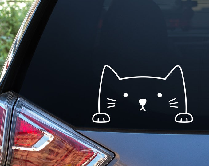 Cat Car Window Decal - Car Decal, Window Decal, Car Stickers, Laptop Sticker, Cat Decal, Car Window, Cute Car Decal, Unique Gift, Funny Gift