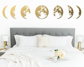 Moon Phases Wall Decal - Moon Phase Decor, Celestial Wall Art, Moon Decor for Home, Nursery Decor, Kids Room Wall Stickers