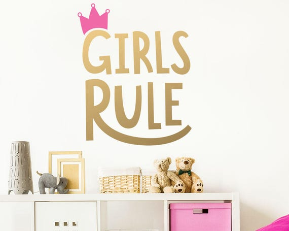 Girls Rule Wall Decal - Kids Room Decal,  Nursery Decal, Removable Wall Sticker, Vinyl Wall Decal, Girls Room Decor, Cute Wall Decor