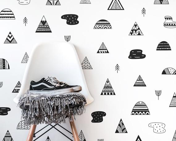 Mountain Wall Decals - Scandinavian Nursery Decals, Geometric Decals, Vinyl Wall Decals, Tribal Nursery, Nordic Style Wall Stickers