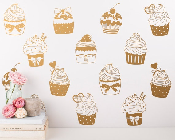 Cupcake Wall Decals - 24 Modern Vinyl Decals, Cupcake Wall Stickers, Cute Wall Decor Great for Unique Gifts and More!