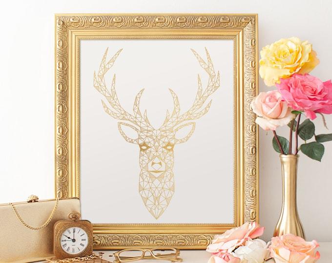 Geometric Deer Digital Print - 8X10 Gold Digital Print, Gold Foil Texture, Geometric Wall Decor, Instant Download Gold Printable