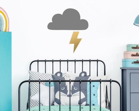 Cloud and Lightning Wall Decal - Cloud Decal, Lightning Decal, Nursery Decal, Nursery Decor, Kids Room Decor, Cloud Wall Art, Wall Decor