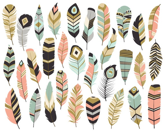 Tribal Feathers Clipart - Set of 31 Vector, PNG & JPG Files - Unique, Beautiful Boho Feather Clip Art in Coral, Navy, Mint and Gold