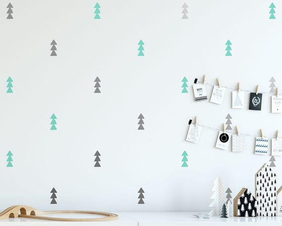 Tree Decals - 2-Color Triangle Decals, Tree Wall Decals, Tiny Tree Wall Stickers, Nursery Wall Decals, Minimalist Decor