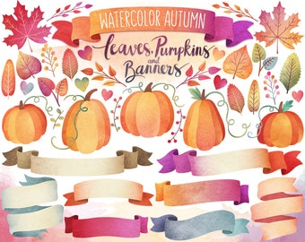 Autumn Clipart - Watercolor Clipart, Autumn Leaves, Pumpkins, and Banners - Fall Digital Clipart Set, Watercolor Clip Art