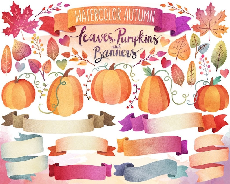 Autumn Clipart  Watercolor Clipart Autumn Leaves Pumpkins image 1