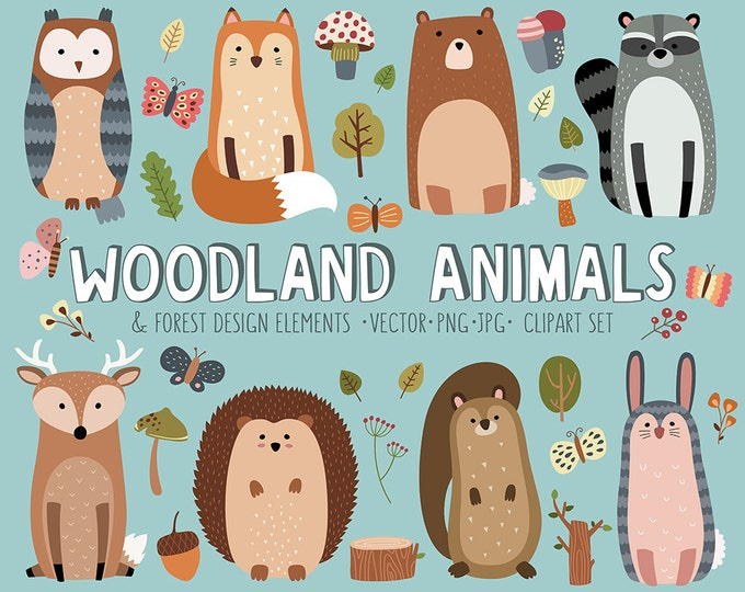Woodland Clipart Set - Cute Woodland Forest Animals Vector Clip Art Bundle - 34 Adorable Designs for Woodland Nursery Decor, Cards and More!