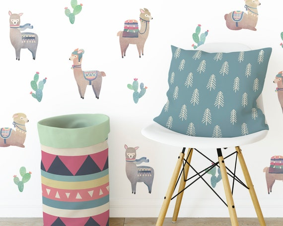 Alpaca Wall Decals - Llama Decor, Watercolor Alpacas, Reusable Decals, Nursery Decor, Wall Decor, Alpaca Decor, Alpaca Wall Art, Kids Room