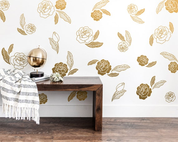 Floral Wall Decals - Flower Blossoms, Leaf Decals, Floral Wall Stickers, Botanical Wall Decals, Flower Nursery Wall Decals, Rose Wall Decals