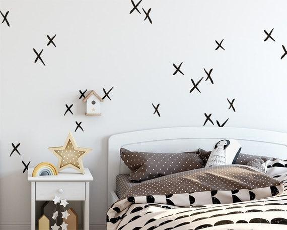 X Wall Decals - Hand Drawn X Decals, Nursery Wall Decals, Cross Decals, Scandinavian Decals,  Kids Room Decals, Scandi Nursery, Minimalist