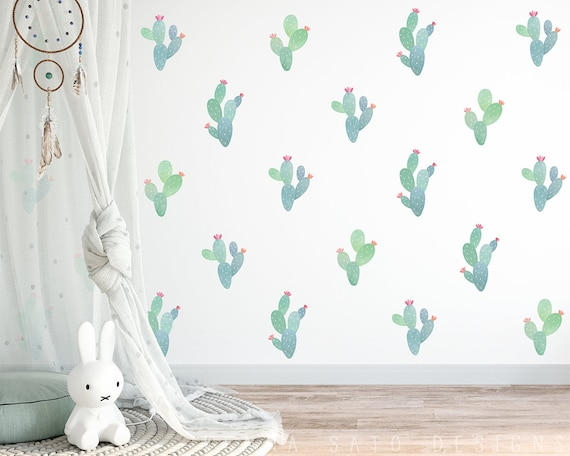 Watercolor Cactus Decals - Reusable Wall Decals, Nursery Decals, Cactus Wall Decal, Cactus Art, Cactus Decor, Nursery Decor, Kids Room Decor