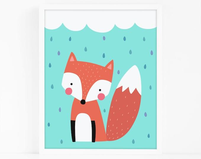 Fox and Rain Cloud Art Print - Kids Room Art Print, Nursery Art, Wall Art, Wall Decor