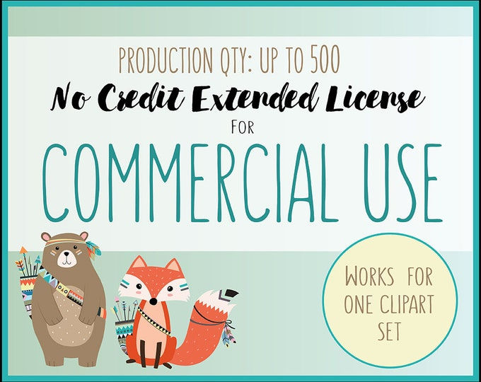 Extended License for Commercial Use of Any Clipart Set - Production Quantity of 1-500, Commercial Use of Clip Art Sets