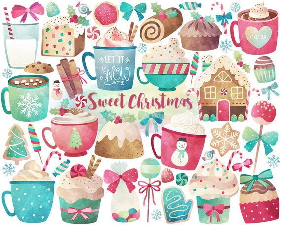 Watercolor Christmas Clipart - Christmas Clipart, Watercolor Clipart, Christmas Sweets & Treats Digital Clip Art, Unique Holiday Printables