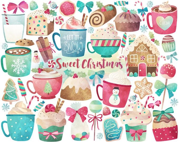 Watercolor Christmas Clipart - Christmas Clipart, Watercolor Clipart, Christmas Sweets & Treats Digital Clip Art, Unique Holiday Printables