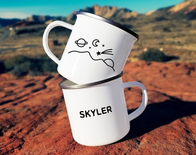 Personalized Camp Mug - Custom Name Mug, Personalized Mug, Mug Gift, Adventure, Wanderlust, Outer Space Mug, Personalized Gift, Custom Gift