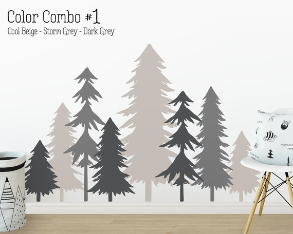 Pine Tree Forest Wall Decals - 3 Color Tree Decals, Forest Mural, Large Wall Decals, Children's Forest Decal, Kids Room Decor, Nursery Decor