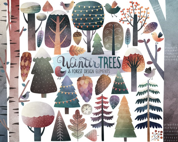 Watercolor Winter Clipart - Winter Trees Clipart, Watercolor Clipart, Winter Clipart, Woodland Clipart, Digital Clip Art, Winter Printables