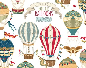 Vintage Hot Air Balloon Clipart - Unique Vector, PNG, & JPG Clip Art Set - Retro Clipart, Hot Air Balloons Print, Beautifully Detailed!