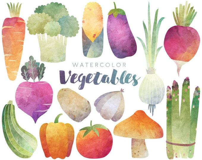 Watercolor Vegetables Clipart - 300 DPI Watercolor Clip Art Set - Veggies, Food Clipart, Health, Vegetable Art