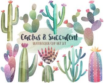 Watercolor Cactus Clipart - Watercolor Clipart, Cactus Clipart, Succulent Clip Art, Digital Watercolor Printables, Summer Clipart