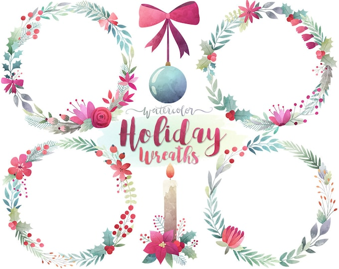 Christmas Clipart - Watercolor Christmas Wreath Clipart, Watercolor Clip Art, Digital Christmas Clip Art, Holiday Printables, DIY Cards