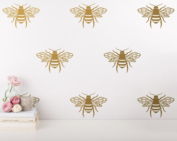 Bee Wall Decals - Unique Vinyl Wall Decals - Gold Decals, Bedroom Decals, Living Room Decals, Wall Decor, Wall Stickers for Gifts & More!