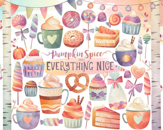 Watercolor Clipart - Sweets & Treats Autumn Themed Clipart, Fall Clipart, Autumn Clipart, Holiday Clipart, Candy Digital Clipart Download