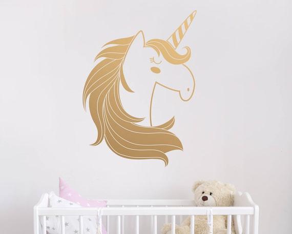 unicorn wall decal cute unicorn decal kids wall decal | etsy