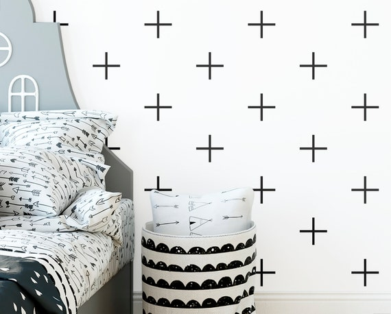 Geometric Wall Decals - Nursery Decals, Cross Decals, Scandinavian Decor, Kids Room Decor, Nursery Decor