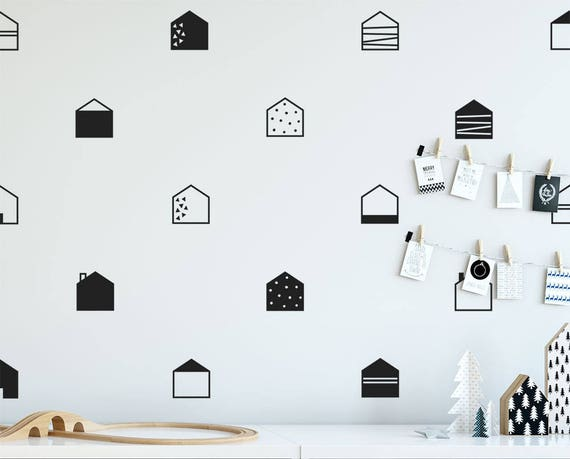 Scandinavian Style Wall Decals - House Wall Decals, Geometric Decals, Nursery Decals, Scandinavian Nursery, Scandi Wall Decor