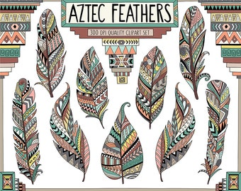 Aztec Tribal Feathers Clipart - Patterned Feather Clipart, Vector Clipart, Tribal Clipart, 300 DPI Commercial Use Digital Clipart Set