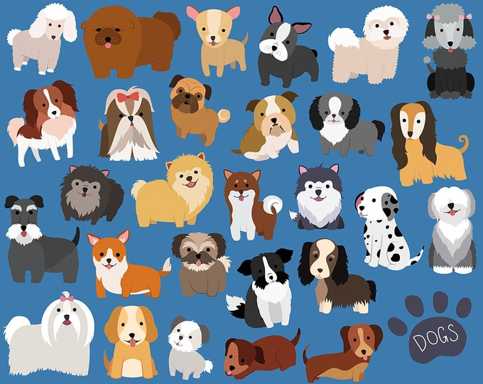 Dog and Puppy Clipart Set - 29 Hand Drawn Vector & PNG Files 300 DPI - Cute, Unique, Hand Drawn Dogs and Puppies Design Elements Clip Art