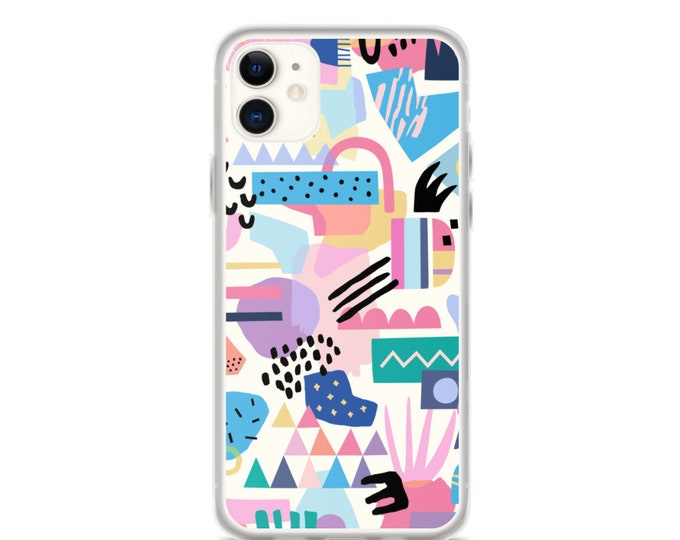 iPhone Case - Abstract Geometric Phone Case, Modern Colorful Design