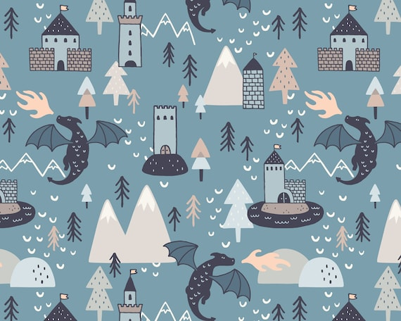Dragon and Castles Wallpaper - Peel and Stick Removable Wallpaper, Mountain Wall Art, Woodland Nursery Wallpaper, Kids Room Wall Decor
