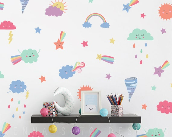 Cloud & Raindrop Wall Decals - Cute Weather Themed Reusable Decal Set, Nursery Decor, Star Decals, Wall Decor, Gift, Baby Shower, Kids Room