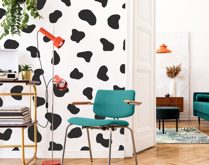 Cow Spot Wall Decals - Polka Dot Wall Stickers, Cow Print Wall Art, Modern Farmhouse Decor
