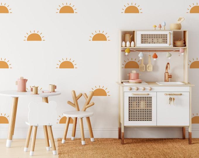 Half Sun Wall Decals - Sunshine Wall Stickers, Boho Nursery Decor, Kids Room Wall Art, Playroom Decor