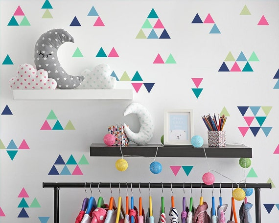 Triangle Wall Decals - Colorful Vinyl Wall Decals, Nursery Decals, Unique Geometric Wall Decor, Multicolored Decals, Kids Room Decals, Decor