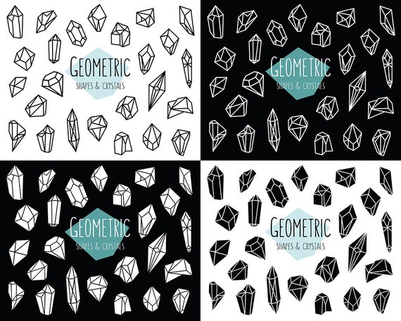 Geometric Shapes and Crystals Clipart - 50 Black & White PNG, JPG, and Vector Files - Unique, Trendy Clip Art Set