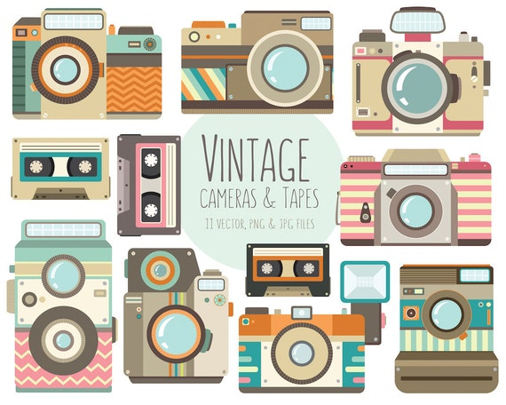 Vintage Camera Clipart - 11 Vector, PNG, & JPG 300 DPI Files - Unique Retro Cassette Tape Clip Art, Photography Design Elements