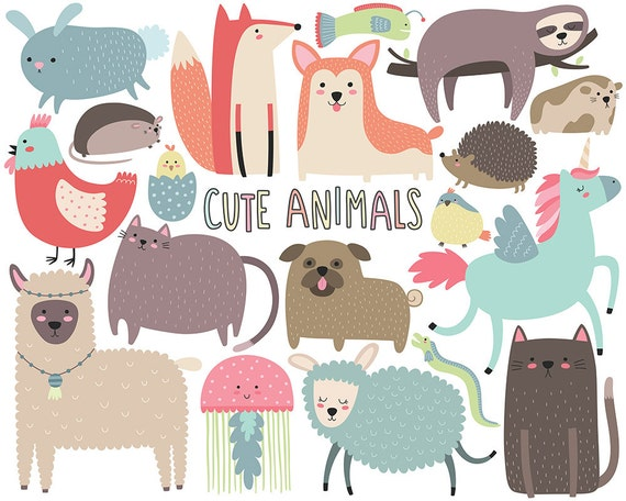 Cute Animals Clipart - Funny Animal Clipart, Cute Digital Clip Art, SVG Clipart, Unique Digital Illustrations
