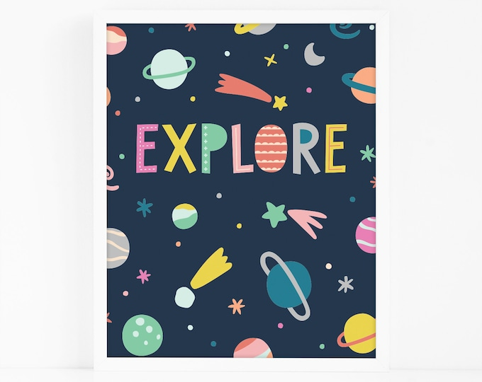 Kids Room Art Print - Outer Space Art Print, Nursery Art, Wall Art, Wall Decor, Explore Print for Baby or Kid's Bedroom