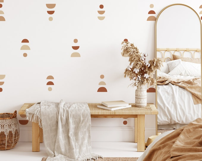 Boho Wall Decals - Removable Wall Stickers, Minimalist Geometric Wall Art, Boho Nursery Decor, Kids Room Decor